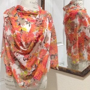 Long Lightweight Scarf with Flowers